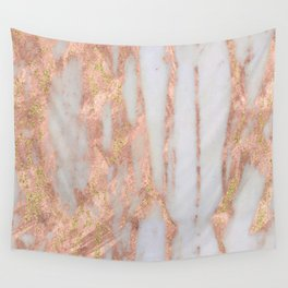 Aprillia - rose gold marble with gold flecks Wall Tapestry