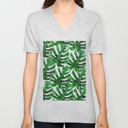 Monstera Pattern V3 Oil Painting #home #fashion Unisex V-Neck