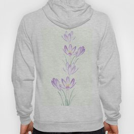 purple botanical crocus flowers Hoody