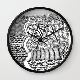 Zentangle Fields of Dream Black and White Adult Coloring Illustration Wall Clock