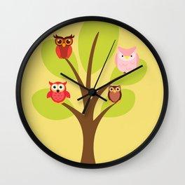 Owls In Tree Cute Kawaii Wall Clock