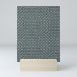 PPG Night Watch Pewter Green Scallop Wave Pattern Mini Art Print