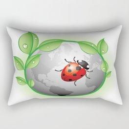 Earth Ladybird Illustration Rectangular Pillow