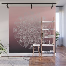 White Lace Flowers and Leaves Floral Mandala on Dusty Rose Pink Wall Mural