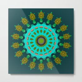Turtle Pond Mandala Design Metal Print