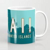 travel poster Mugs featuring Hawaii Travel Poster by Michael Jon Watt
