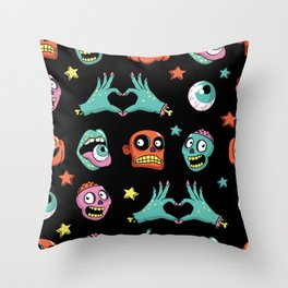 Halloween pattern with funny zombies, pumpkin and other elements. Throw Pillow
