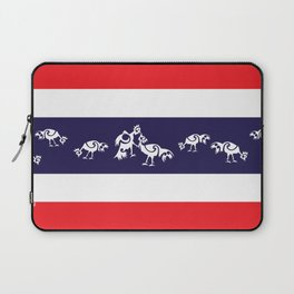 Thailand Flag, Roosters Sparring Laptop Sleeve