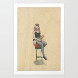 Phoebe and the Sock Monkey Art Print