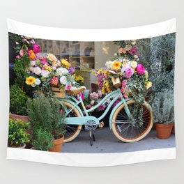 Vintage Bicycle Adorned With Flowers Wall Tapestry