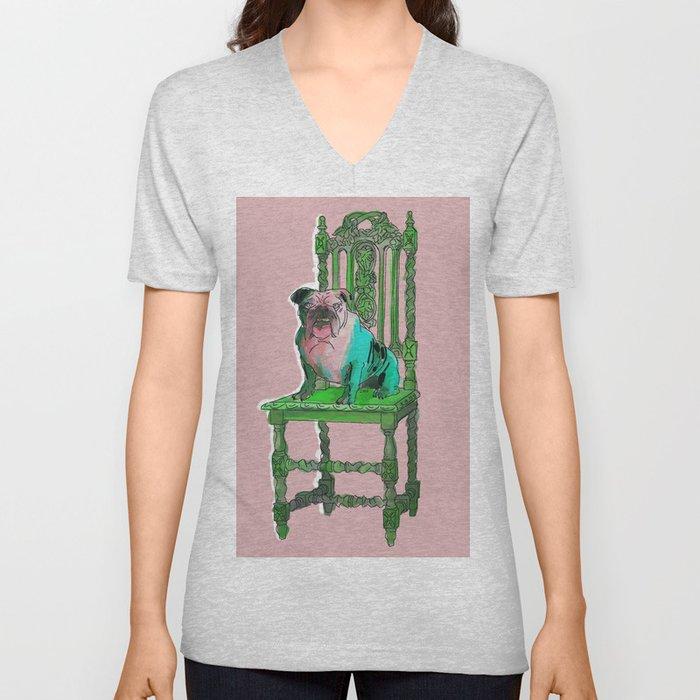 animals in chairs #17 Bulldog Unisex V-Neck