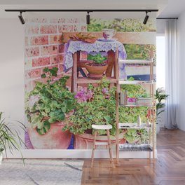 Terracotta and Geraniums Wall Mural