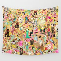 unicorns Wall Tapestries featuring Decoupage Unicorns by That's So Unicorny