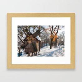 Winter Romanian postcard with windmills Framed Art Print