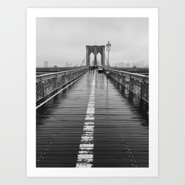 Black and White Brooklyn Bridge Art Print