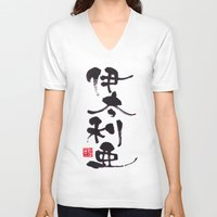 italy V-neck T-shirts featuring Italy by shunsuke art