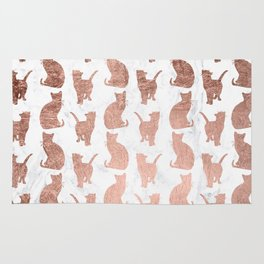 Modern faux rose gold cats pattern white marble Rug