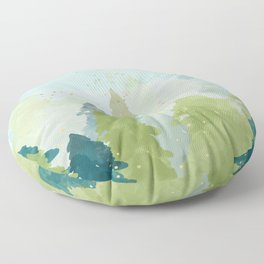 Merry Xmas- Teal Winter Forest Floor Pillow