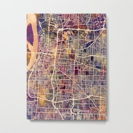 Memphis Tennessee City Map Metal Print