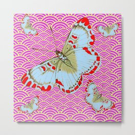 ORIGINAL ORIENTAL STYLE RED-WHITE EXOTIC BUTTERFLY PINK ART Metal Print