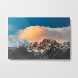 Burning clouds over the mountains Metal Print