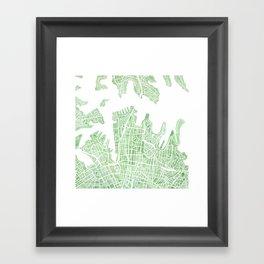 Sydney Australia watercolor city map Framed Art Print