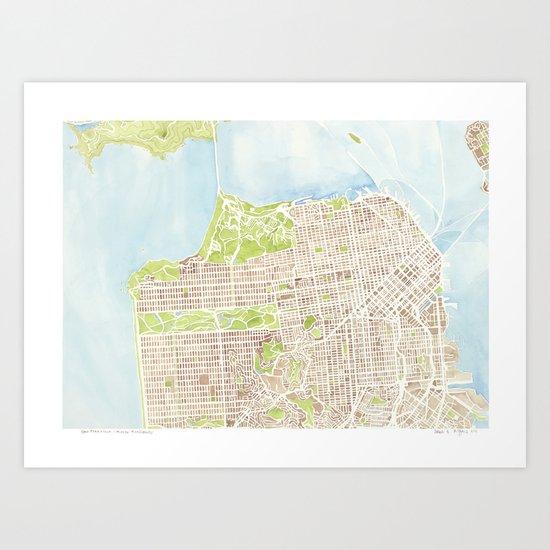 San Francisco CA City Map  Art Print