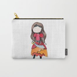 Brown haired pirate girl | Watercolor portrait Carry-All Pouch