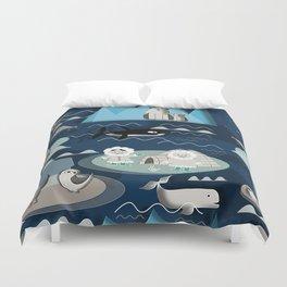 Arctic animals blue Duvet Cover