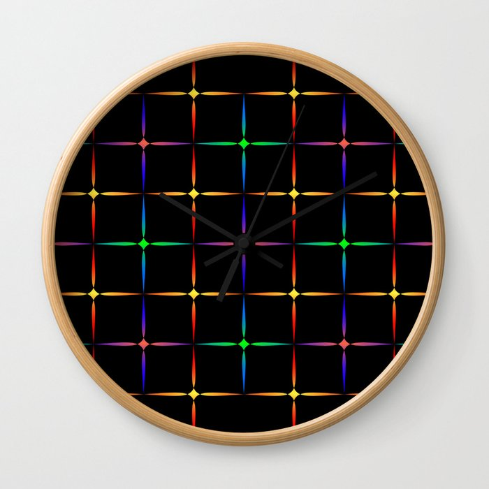 Neon diamonds. Pattern or background of multicolored neon stars on a black background Wall Clock