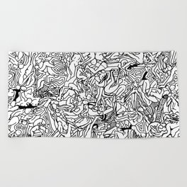 Lots of Bodies Doodle in Black and White Beach Towel