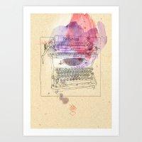 typewriter Art Prints featuring typewriter by Sabine Israel