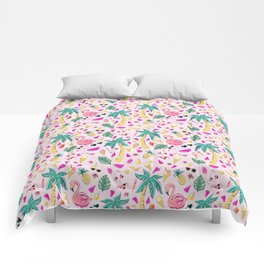 Pink Summer Vacation Sticker Print Comforters
