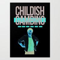 childish gambino Art Prints featuring Childish Gambino by Claudia Reese