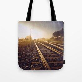Railway Tracks at sunrise and twilight sky - Landscape Photography #Society6 Tote Bag