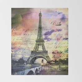 Eiffel Tower Paris Throw Blanket