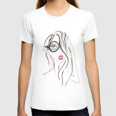 Lady Boss MEDIUM White Womens Fitted Tee
