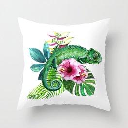 watercolor green chameleon Throw Pillow