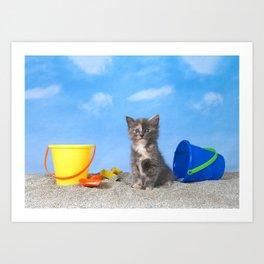 Kitten Fun in the Sun Beach Time Art Print