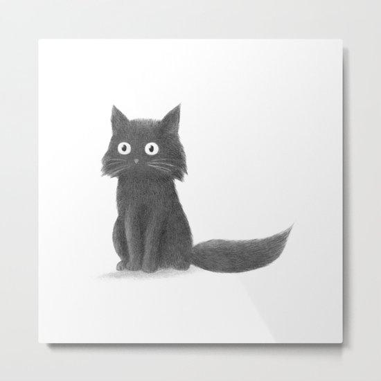Sitting Cat (mono) Metal Print