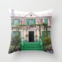 monet Throw Pillows featuring Monet House by Rachael Nicole