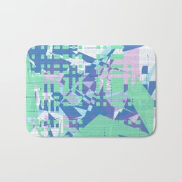 Random green, pink and blue shapes on white messy blue lines wall Bath Mat
