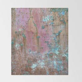 Abstract turquoise flowers on colorful rusty background Throw Blanket