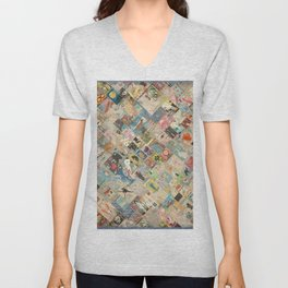 Vintage Japanese matchbox collage Unisex V-Neck
