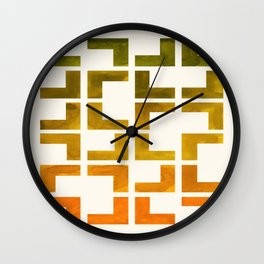 Geometric Pattern L Shaped Watercolor Painting Olive Green Yellow Ochre Colorful Pattern Art Wall Clock