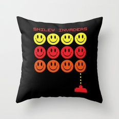 Smile Invaders Gaming Quote Throw Pillow