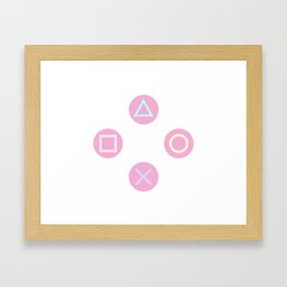 Gamer Girl - Pastel Controller Buttons Framed Art Print
