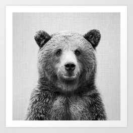 Grizzly Bear - Black & White Art Print
