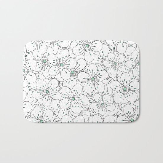 Cherry Blossom Mint Bath Mat
