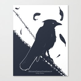 Raven on a Wire Canvas Print